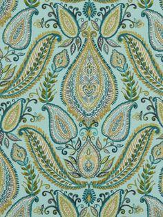 Aqua Blue Paisley Fabric - Woven Cotton Upholstery - Modern Paisley Fabric - Aqua Yellow - Paisley Curtain Fabric - Heavyweight Material