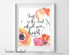 Christian wall art Nursery bible verse Trust by TwoBrushesDesigns