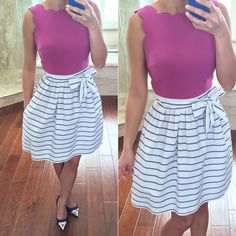 LOFT Scalloped Bodice Dress and Striped Skirt with Bow Sash