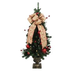 4 ft. Battery Operated Holiday Burlap Potted Artificial Christmas Tree with 50 Clear LED Lights, Greens