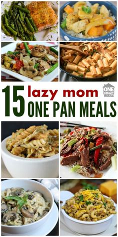 Every mom has days where she wants a good dinner with little clean-up. These one-pan recipes are just the answer for your busiest, or laziest nights. Photo collage of different meals One Pan Dinner Recipes, One Pan Meals, Easy One Person Meals, Recipes For One, Quick Meals For Dinner, 15 Min Meals, Quick Summer Meals, 10 Minute Meals, Beginner Recipes