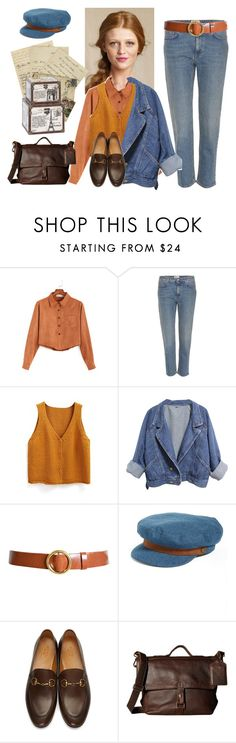 """""""204. Sets for exam. Denim Gavroche"""" by sollis ❤ liked on Polyvore featuring Acne Studios, WithChic, Frame, Brixton, Gucci, COWBOYSBELT, Home Decorators Collection, classic, natural and gavroche"""