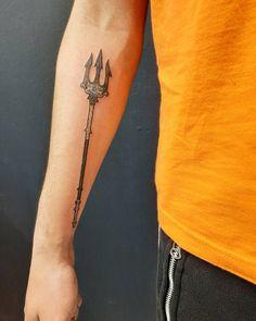 Percy Jackson Tattoo, Trident Tattoo, Geometric Art Tattoo, Poseidon Tattoo, Half Blood, Instagram Tattoo, Tattoos, Instagram Bio, People