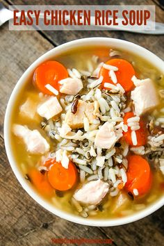 Want a comforting, homemade soup, but want it done fast? This Easy Chicken Rice Soup recipe will be warming you up in no time! Made with canned chicken (or rotisserie chicken), fresh carrots and celery, chicken broth, and a wild rice blend. #soup #souprecipes #chickensoup