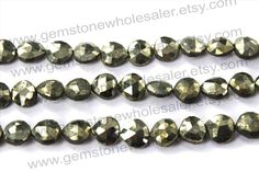 Pyrite Faceted Heart (St.Drill) (Quality A+) / (A pack of 2 strands) / 8 to 9 mm / 16 to 18 Grms / 18 cm / PY-006 by GemstoneWholesaler on Etsy