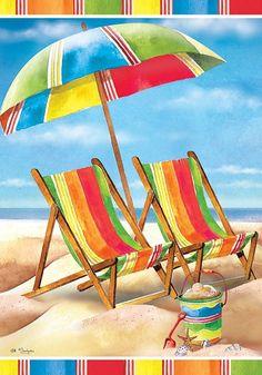 Custom Decor Flag - Summer Beach Chairs Decorative Flag at Garden House Flags at GardenHouseFlags