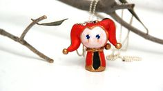 Medieval Jester , Polymer Clay Chibi Necklace Handmade via Etsy