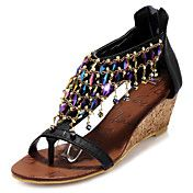 Leatherette Women's Wedge Heel Heels Sandals ... – USD $ 34.99