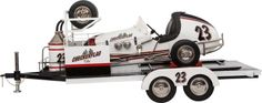 SCALE MODEL MIDGET RACER AND TRAILER BY RETRO 1-2-3 Length of trailer 32 inches (81.3 cm), car 20 inches (50.8 cm) Well presented all metal 1.6 scale model Offenhauser engine speedway racer on trailer