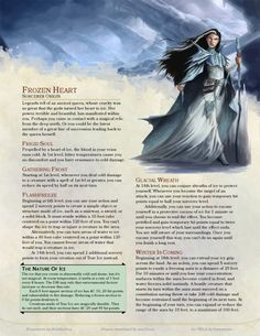 DnD Homebrew — Frozen Heart Sorcerer by belithioben Dungeons And Dragons Classes, Dungeons And Dragons Characters, Dungeons And Dragons Homebrew, Dnd Characters, Fantasy Characters, Gerardo Gonzalez, Dnd Sorcerer, Dnd Classes, Dnd Races