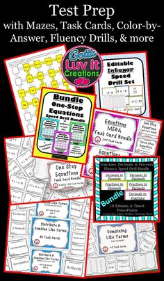 Test Prep with fun, engaging resources such as mazes, color-by-answer, fluency drills, task cards, etc.