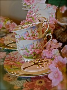 Pink trees for tea time! I love this pattern of china: Apple blossom