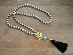 Black Grey Monogram Tassel Necklace madeinaday.com