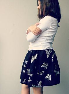 Black mini skirt with butterfly print Summer by QuickFashionSkirts, $34.00