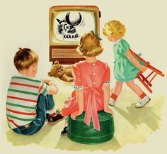 remember your first TV? (links to page of writing triggers for childhood memories) Vintage Tv, Vintage Ephemera, Vintage Colors, Vintage Prints, Vintage Posters, Vintage Cards, Vintage Style, Family Memories, Childhood Memories