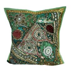 "16"" Indian Cotton goerges Pillow Beaded Patch Work Handmade Cushion Cover 10 #JunedCraftPalace #ArtDecoStyle"