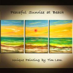 Peaceful Sunrise Beach Wave, HUGE contemporary Abstract Seascape Fine ART Original Oil Painting 63x30