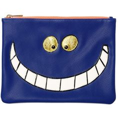 ESSENTIEL Cheshire Cat Faux Leather Pouch (€105) ❤ liked on Polyvore featuring bags, handbags, clutches, blue, faux leather purse, pouch purse, faux leather pouch, blue purse and blue clutches