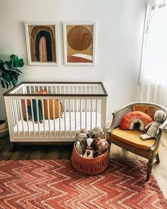 Baby Bedroom, Nursery Room, Girl Nursery, Nursery Decor, Baby Rooms, Kids Rooms, Washable Rugs, Convertible Crib, Vintage Chairs