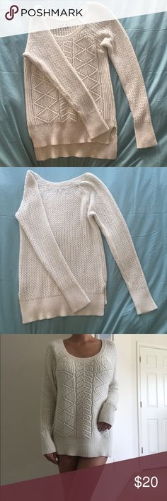 Cream white knitted long sleeve sweater Cream knitted long sleeve sweater in very good condition. Have only been worn a few times and although it's a size large, it will fit medium, small and x-small as well. Picture above is me with an xs built. SO Sweaters Crew & Scoop Necks