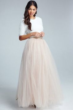 Little Mistress Cream Tulle Maxi Skirt Code: AW15-WGD002-05 £50.00 (Delivery from £3.60)