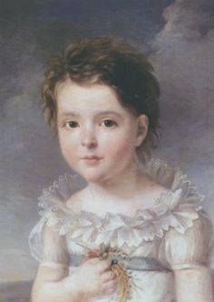 said to be Hortense de Beauharnais as a child, said to be by Francois Gerard.  This could certainly be Hortense, but Gerard would have had to have painted as  he would have been quite young, as he was only 13 years older than she.  They both died in 1837.