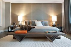 Contemporary Metallic Grasscloth - contemporary hotel styled bedroom