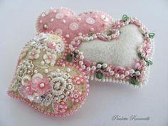 pink felt & lace heart