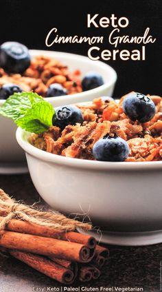 Keto Cinnamon Crunch Granola Cereal is simple to prepare, delicious, crunchy, lightly sweet, cinnamon cereal. Allergy Free Recipes, Sugar Free Recipes, Keto Recipes, Vegetarian Recipes, Healthy Recipes, Keto Foods, Low Carb Granola, No Bake Granola Bars, Granola Cereal