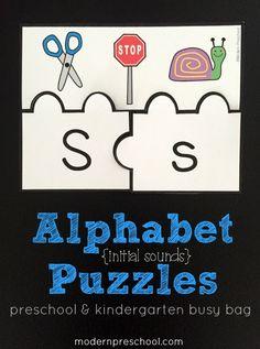 alphabet initial sounds printable puzzles for preschool and kindergarten from Modern Preschool