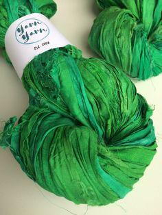 Silk sari ribbon, fresh grass green, premium quality, jewelry making ribbon, knitting ribbon, ethical yarn, recycled yarn. 5 yards by Yarnyarnyarns on Etsy