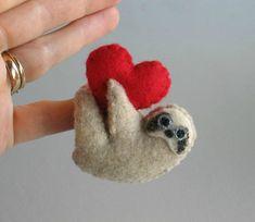 Valentine Sloth miniature felt plush stuffed animal by wishwithme, $16.00