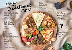 Visuals for the new menu launched by Zizo India - designed by Lara Atkinson. Food Graphic Design, Food Poster Design, Food Menu Design, Restaurant Menu Design, Web Design, Pizza Menu Design, Restaurant Identity, Restaurant Branding, Veggie Cheese