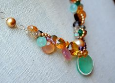 Mermaid's Dream. A beautiful and stunning piece to accent any summer outfit.  Available throughout Facebook Marketplace at www.facebook.com/annevaughandesigns or www.annevaughandesigns.com