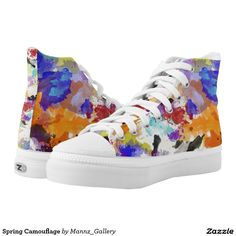 #Sneakers #Sandshoes #Camouflage #CamouflageSneakers Spring Camouflage High Top Printed Shoes. Unisex sizing: 4-13 Men's | 6-15 Women's. Material: Durable canvas tops, rubber soles.  •Rubber soles are manufactured with extra cushioned insoles and a specially designed arch support system to give your feet a comfortable and healthy fit.