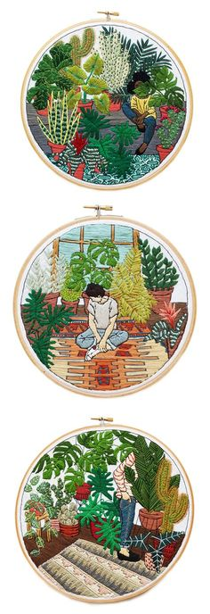 Beautiful contemporary embroidery hoop art by Sarah K. Benning