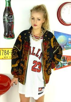 Vintage 80's Crazy Pattern #Tartan #BomberJacket   £26.00 Mixed with an  #athletic dress