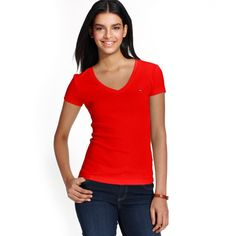 Tommy Hilfiger Short-Sleeve V-Neck Tee ($25) ❤ liked on Polyvore featuring tops, t-shirts, formula one, tommy hilfiger tops, red top, short sleeve tops, v-neck tops and short sleeve tee