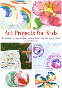 Get inspired with these art projects for kids. From creative painting projects to learning about the rainbow, this is fun art for kids #artprojectsforkids #creativepainting #rainbow #artforkids #artproject #paintingwithkids #twitchetts