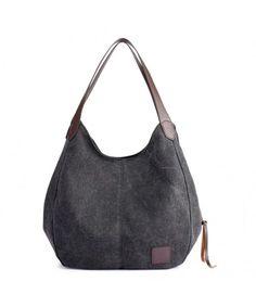 2464f9097b Women Canvas Hobo Shoulder Bags Tote Handbags Fashion Large Capacity Purse  - Black - CR18DACRYY0