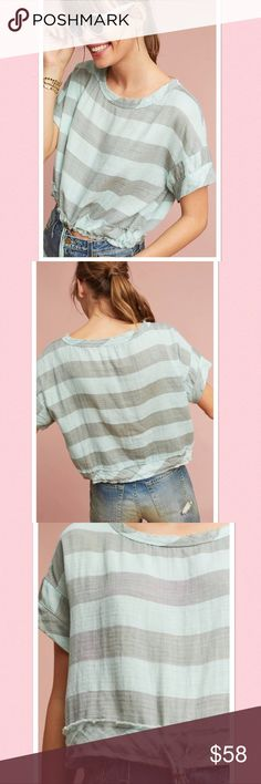 """NWT Anthropologie Breezy Drawstring Cropped Tee Adorable striped cropped tee with drawstring hem by Akemi + Kin for Anthropologie.  Pullover styling.  Approx 18"""" length. Anthropologie Tops Crop Tops"""