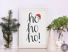 Christmas Printables Wall art, Ho Ho Ho! Santa Hat Prints, X-Mas prints, Xmas Gift Home Decor Wall Decor Christmas Gift Calligraphy by NochtaBoutique on Etsy https://www.etsy.com/listing/560925528/christmas-printables-wall-art-ho-ho-ho