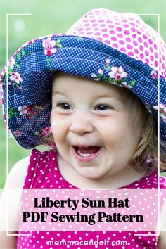 Get ready for the sun! This fun sewing pattern is for Nb - XXL Adult so the whole family can coordinate! There's even a matching doll pattern! #pdfsewingpatterns #sewing #mammacandoit Onesie Pattern, Baby Pants Pattern, Headband Pattern, Baby Clothes Patterns, Baby Patterns, Clothing Patterns, Floppy Sun Hats, Bitty Baby, Hat Making