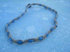 Blue Wood Bead Hemp Choker by AurosCrafts on Etsy