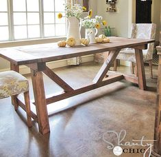 ana white Build the truss beam farmhouse table! Free step by step plans from Farmhouse Dining Room Table, Dinning Room Tables, Diy Dining Table, Wood Tables, Side Tables, Build A Farmhouse Table, White Farmhouse, Diy Esstisch, Diy Outdoor Table