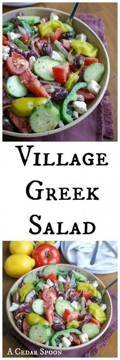 Escape to the Greece with a healthy, vegetable packed Greek Village Salad topped with feta cheese, kalamata olives and pepperoncinis. This salad makes a great lunch, especially with chickpeas or grilled chicken added on for protein or a side salad for din