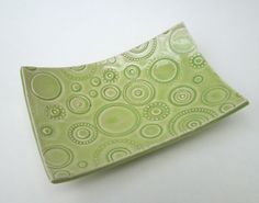 Pastel Lime Green Textured Circle Handmade Ceramic Pottery Soap Dish Plate