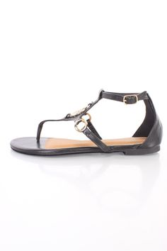 Black Rhinestone Pendant Cute Thong Sandals Faux Leather