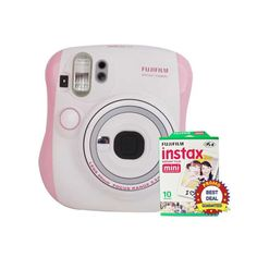 Pink Instax Camera Mini 25s by Fujifilm. This camera has a lighten-darken Control adjusts the intensity of colors to make the print finish brighter or darker. Camera control and detect a background color to control the shutter speed. Close-up lens for shots up to 35 cm from the subject.  http://www.zocko.com/z/JH0W3