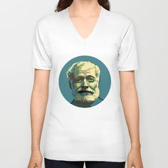Teal men's and women's American Apparel v-neck shirt with portrait of Ernest Hemingway.